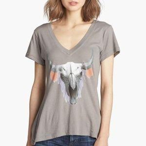 Wildfox Cherie Cow Skull V-Neck Short Sleeved Tee